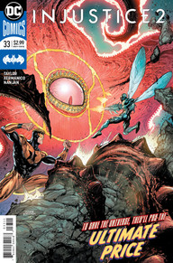 Booster Gold and Blue Beetle fighting Red Lantern Starro
