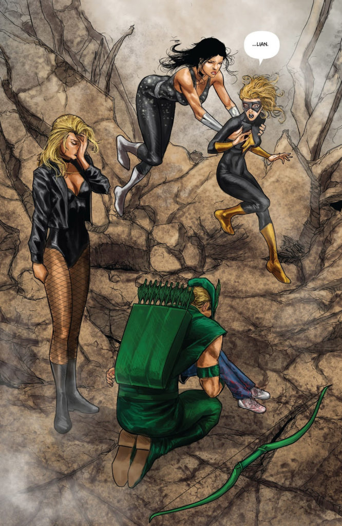 Green Arrow, Black Canary, Speedy all finding the dead body of Lian Harper