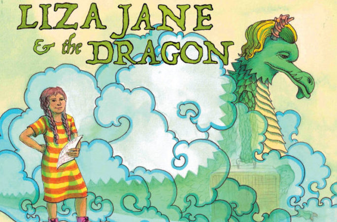 Illustration of a young girl and a dragon surrounded by colorful smoke