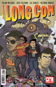 The protagonists of the Long Con, one posing confidently in jeans and a t-shirt and the other slightly bent and writing in a journal, standing in front of a purple bug-like monster