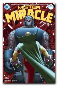 Mister Miracle facing off against Darkseid