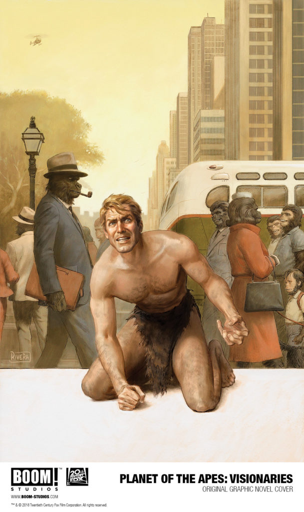 Cover of Planet of the Apes Visionaries, showing astronaut in a loin cloth in front of a modern city of apes in clothing.