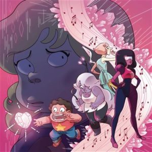 Steven trying to grab a crystal heart, while crystal gems stand behind; Sadie's face is in the background, looking sad