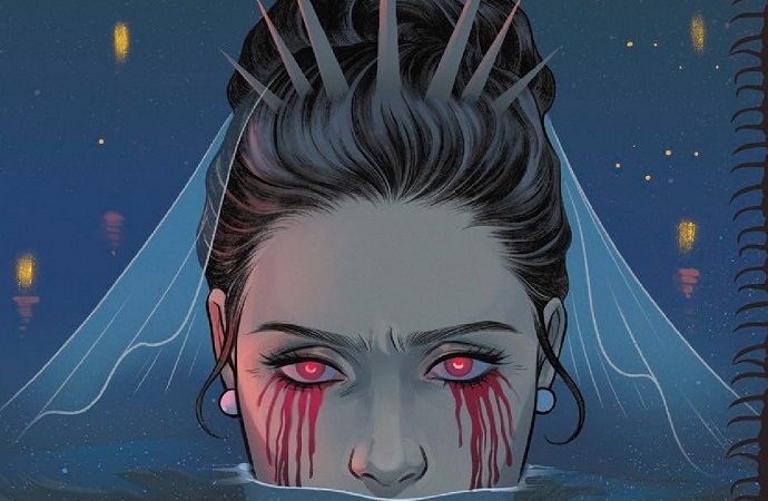 Front cover of Submerged #2. A woman's head is half-submerged in water. Blood is pouring from her eyes.
