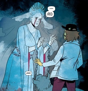 A ghostly vision of Elysia's mother appears before her. Submerged #2. Jen Bartell and Lisa Sterle. Written by Vita Ayala, Illustrated by Lisa Searle, Coloured by Stelladia, Lettering by Rachel Deering. Vault Comics, 2018