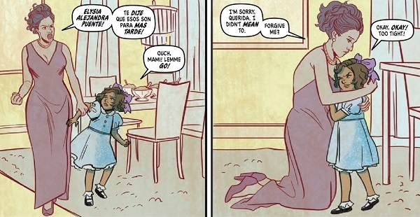 A flashback to Elysia's childhood - her mother is reprimanding her. Submerged #2. Jen Bartell and Lisa Sterle. Written by Vita Ayala, Illustrated by Lisa Searle, Coloured by Stelladia, Lettering by Rachel Deering. Vault Comics, 2018