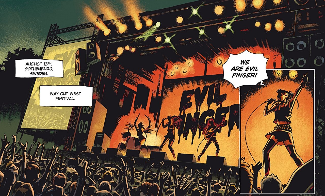Evil Finger concert - The Girl Who Danced With Death Page 3. Written by Sylvain Runberg, drawn by Belen Ortega. Publishing by Titans Comics. 15 August, 2018