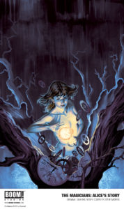 The cover for Alice's Story, featuring a dark-haired girl holding a ball of flame between her hands as she stands at the center of a split tree whose insides seem to be full of gears