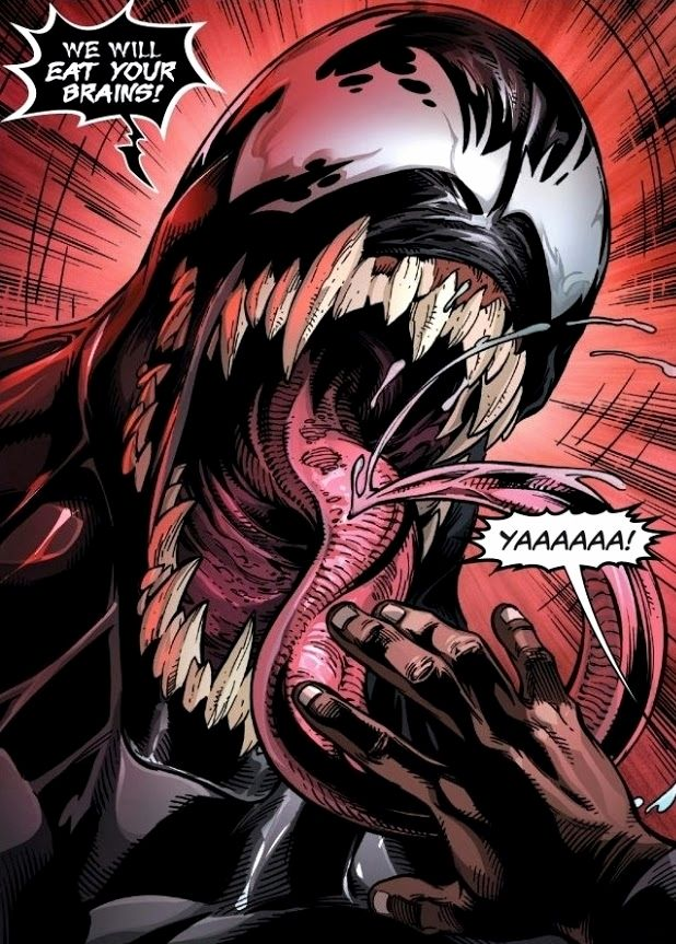 A screaming symbiote lashes his tounge and screams We Will Eat Your Brains