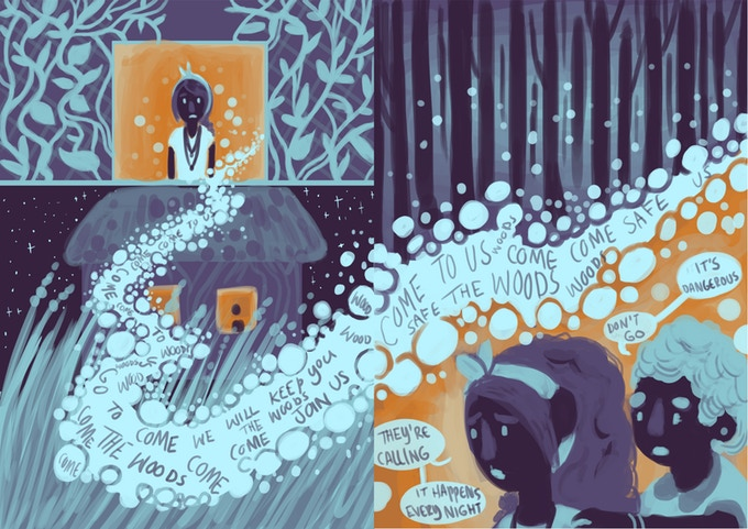 "A crop of a page of Call of the Copse. The palette is limited, all blues and oranges, and text is conveyed through rickety lettering that follows a stream of bubbles that delineates panels and lineless speech bubbles. The text in the bubbles is jumbled and confusing (to artful effect), conveying something with the essence of ""Come to the woods. We will keep you safe."" Call of the Copse, Katie Whittel, Frission Comics, 2018."