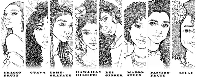 "A lineup of crops of all the images included in the Gurls with Curls coloring book. Each image is of a woman with beautiful natural hair, captioned with a fruit or flower that will also feature prominently in the image. The options read: ""Dragonfruit,"" ""Guava,"" ""Pomegranate,"" ""Hawaiian Hibiscus,"" ""Red Ginger,"" ""Mangosteen,"" ""Passionfruit,"" and ""Lilac."" Gurls with Curls, Sarah the Artist, 2018."