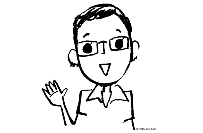 Illustration of Jocelyne Allen, a shorthaired woman with glasses waving. Art by Natsume Ono.