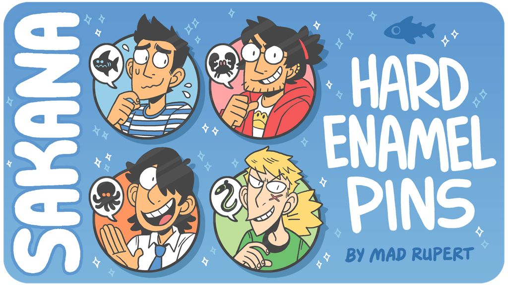 A graphic displaying the main four pins included in Mad Rupert's kickstarter campaign. The characters on offer are: Jiro, Taro, Taisei, and Yuudai. Graphic (and Sakana) by Mad Rupert.