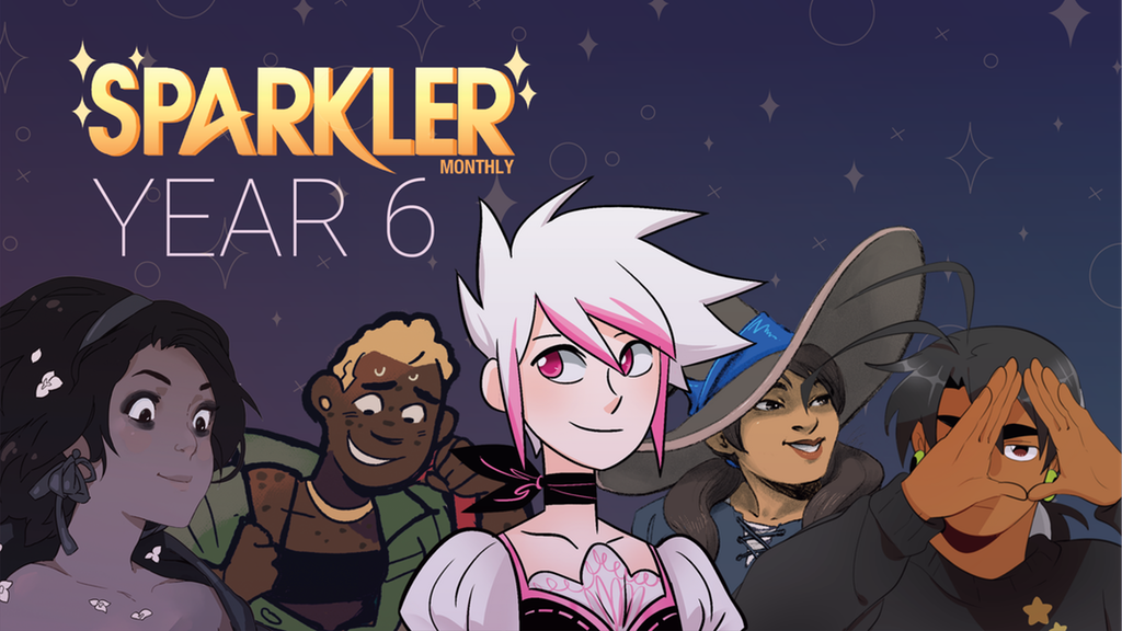 The Kickstarter banner for Sparkler Monthly Year 6, composed of popular characters from Sparkler Monthly's lineup over a purple background. Art by various creators. Sparkler Monthly Year 6, organized by Lianne Sentar & Rebecca Scoble, Chromatic Press, 2018.