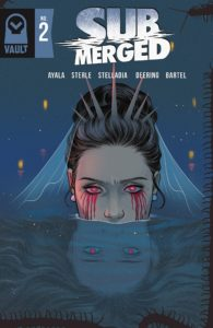 The cover of Submerged, featuring a woman's face coming out of a pool of water. She wears a spiked crown and veil on her pulled-up hair; her eyes are narrowed, with red irises and blood running from them. In the water, her reflection has a sadder expression and her hair is down.