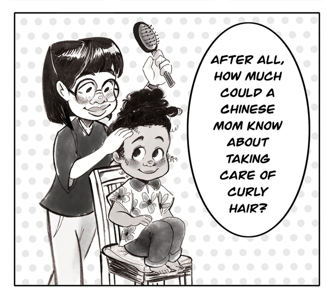 "A panel from Pearl Low's Tension, in which a young Pearl is getting her hair—natural, fluffy—done by her mother (whose hair is straight). The caption reads, ""After all, how much could a Chinese mom know about taking care of curly hair?"" Tension, Pearl Low, 2018."