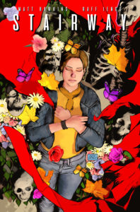 Cover of Stairway Volume 1 (Top Cow Productions, August 2018) - A top-down illustration of a sleeper surrounded by flowing red cloth, flowers, butterflies, and bones