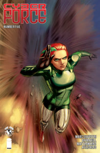 Cover of Cyber Force #5 - Velocity, a redhead in a green jumpsuit with silver leg bracers, runs so fast that the background is a blur