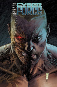 Cover of Cyber Force Rebirth Volume 4 - A man stares out at the viewer with a fierce expression, the right side of his face and neck exposed to show tendons and a red, glowing right eye