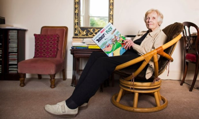 Anthea Bell holding a copy of Asterix and the Picts, photo by Felix Clay for the Guardian