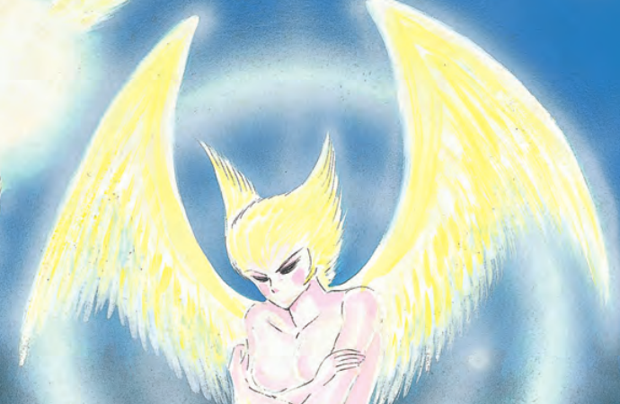 An angelic-looking demon against a blue and white background.