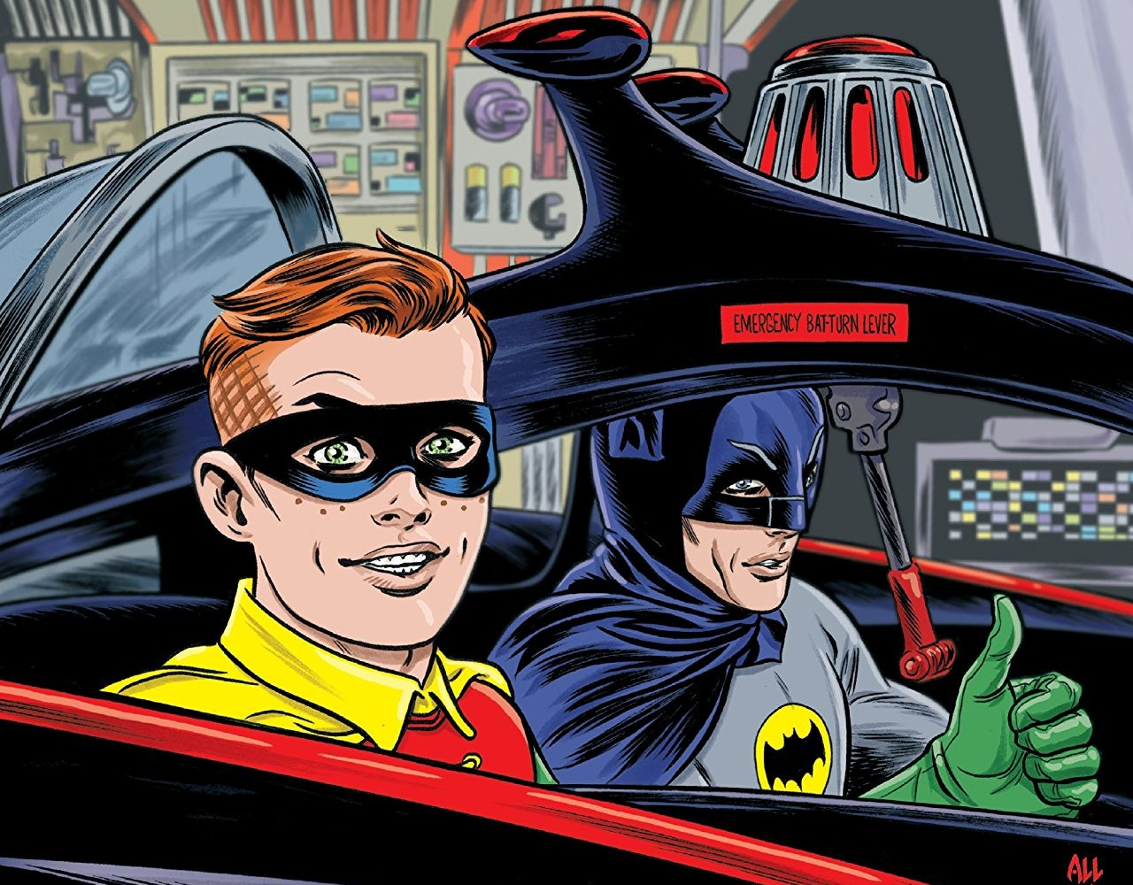 Archie rides in the Batmobile alongside Batman in Archie Meets Batman '66 #4: The Batman of Riverdale Cover A. Written by Michael Moreci and Jeff Parker, drawn by Dan Parent. Archie Comics and DC Entertainment. October 31, 2018