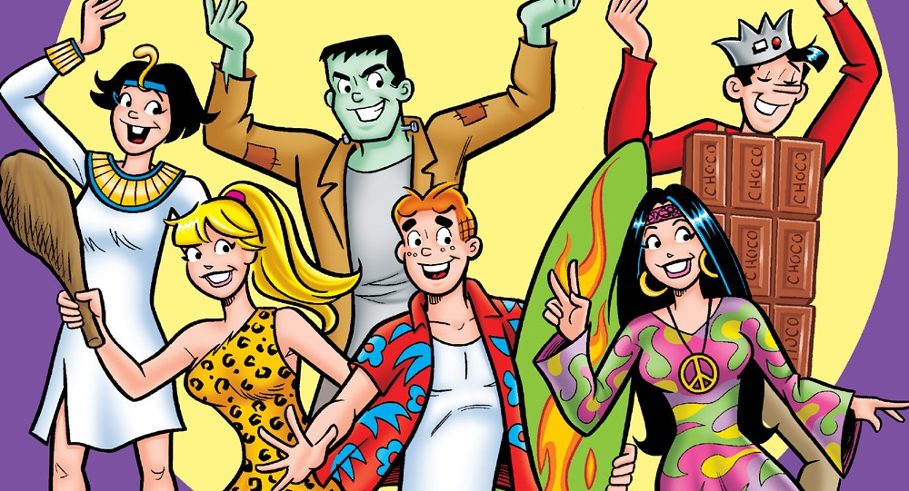 Archie Andrews and gang dress up for Halloween in the Archie Halloween Spectacular Cover A. Written by Dan Parent. Drawn by various artists. Published by Archie Comics. 10 October, 2018