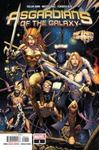 The Asgardians of the Galaxy: Angela, Skurge, Valkyrie, Thunderstrike, Throg, and the Destroyer