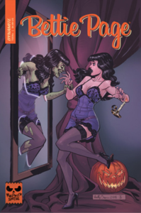 Cover; Green-skinned ghoul-Bettie emerging from a mirror from a recoiling human-Bettie in a tiny purple dress and black stockings.