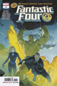 The Thing, Johnny Storm, Sue Storm, and Reed Richards rush into battle