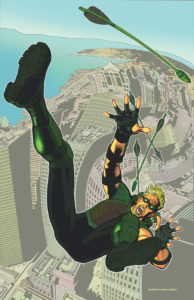 Green Arrow falling from a great height