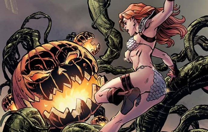 Red Sonja attacks a monstrous pumpkin