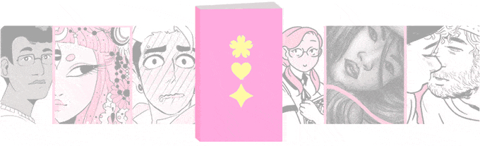 A strip of six panels from the comics in Hana Doki Kira Volume 2, with an icon symbolizing the book in the middle. The book is bright pink, with three gold symbols: a flower, a heart, and a diamond with curved sides, stacked vertically in the middle of the cover. Hana Doki Kira, Enduro, HKezza, Elisa Lau, Annie Stoll (editors), Year 85 Group, 2019