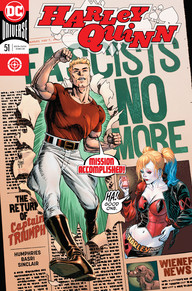 Captain Triumph busting through a propaganda ad while Bombshell Harley looks on