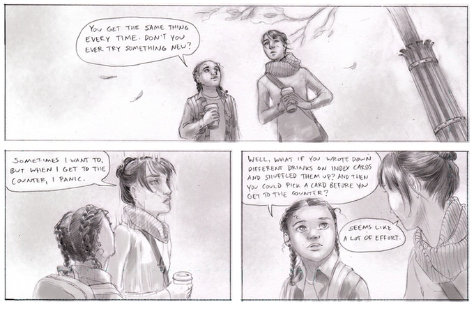 Three panels from Hungry Ghost. Carey, a tall woman with straight hair tied up in a bun, wears a scarf and carries a paper coffee cup. Alanna, a shorter girl with tight braids, walks beside her, also holding a coffee cup. Alanna asks Carey why she only ever orders the same thing; Carey replies that she freezes and goes on autopilot every time she tries to order. Both girls are dressed for fall weather. Hungry Ghost, Alison Blackwell, 2018