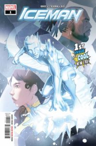 Iceman with a profile of Kitty Pryde and a profile of Bishop