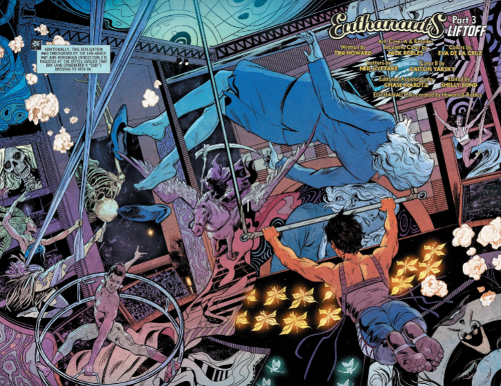 Panel from Euthanauts #3 Eva De La Cruz (colorist), Tini Howard (writer) Nick Robles (artist) October 3, 2018 - A chaotic carnival scene colored in gradients from cool blue to magenta and red