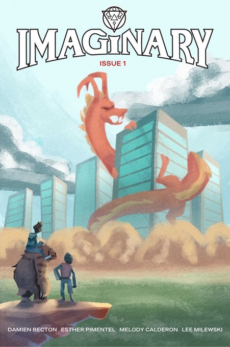 The cover to Imaginary #1. Tracy sits atop a large (friendly) bipedal beast, standing next to an armored imaginary friend. They face away from the camera, looking into the distance where a dragon is wrapped around a tall building. The title lettering arcs over the dragon's head at the top of the page. Imaginary #1, Damien C. Benton (writer), Lee Milewski (colorist), Esther Pimentel (artist), 2018. Cover by Esther Pimentel.