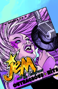 Illustration for Jem and the Holograms, IDW 20/20, Siobhan Keenan, 2018 - A rocker with the Holograms' long hair and eye makup sings in front of a mic on a vinyl album cover titled Outrageous Hits