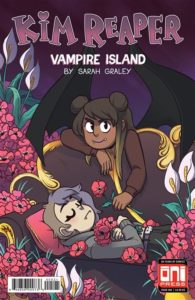 A dark-skinned vampire with black wings and fangs, grinning at the viewer, hovers over a pale, apparently sleeping person on a couch