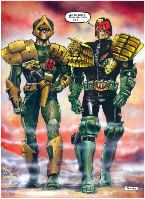 """Dredd saying, """"Who the hell's gonna mess with us?"""""""
