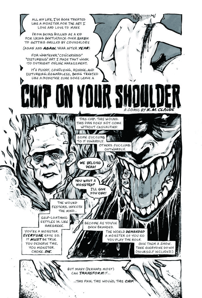 "Excerpt from K. M. Claude's comics essay ""Chip On Your Shoulder."""