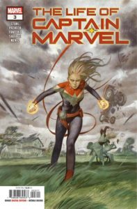 Carol Danvers prepares for battle as a storm rages around her