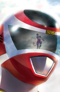 A Purple Ranger is reflected in the visor of a Red Ranger's helmet in Mighty Morphin Power Rangers #32 Cover C. Written by Marguerite Bennett and drawn by Simone Di Meo. Published by BOOM! Studios. October 24, 2018