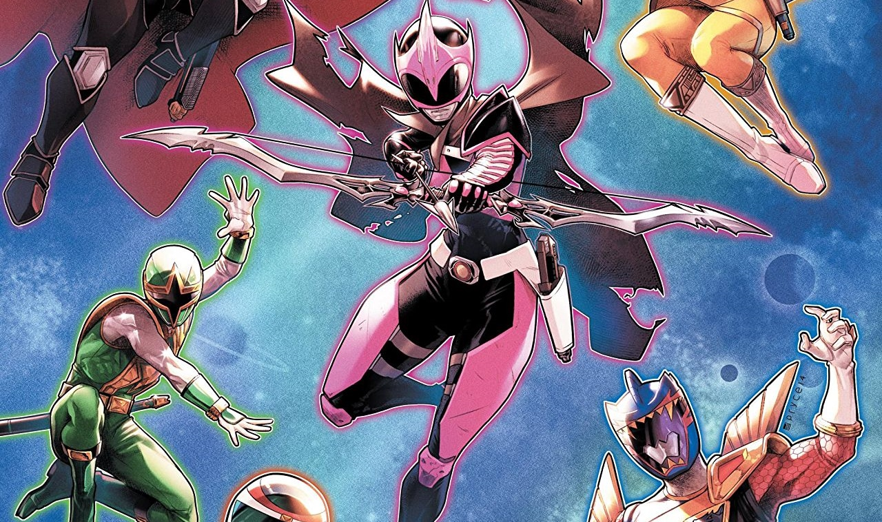 The Power Rangers unite in the Mighty Morphin Power Rangers #31 Cover A. Written by Marguerite Bennett and drawn by Simone Di Meo. Published by BOOM! Studios. September 26, 2018