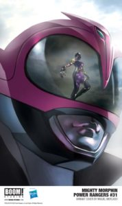 The Pink Ranger's helmet includes a reflection of a sinister Purple Ranger in the Mighty Morphin Power Rangers #31 Cover B. Written by Marguerite Bennett and drawn by Simone Di Meo. Published by BOOM! Studios. September 26, 2018