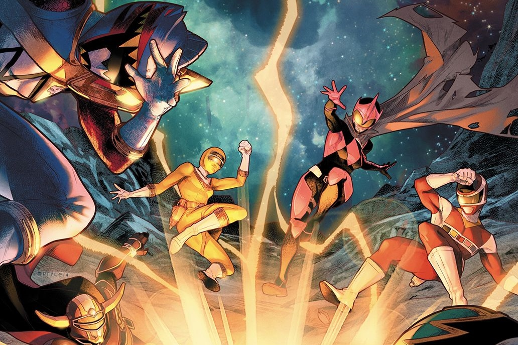 The Power Rangers fend off a blast in Mighty Morphin Power Rangers #32 Cover A. Written by Marguerite Bennett and drawn by Simone Di Meo. Published by BOOM! Studios. October 24, 2018