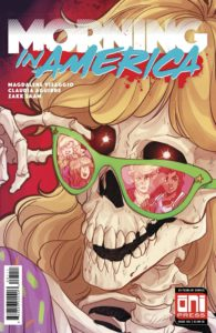 A skeleton with luscious blonde hair pulls down her green shades to look at the viewer in a style reminiscent of '80s movie posters or Goosebumps book covers; various angry/concerned faces are reflected in her shades