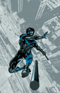 Nightwing falling and throwing an escrima stick