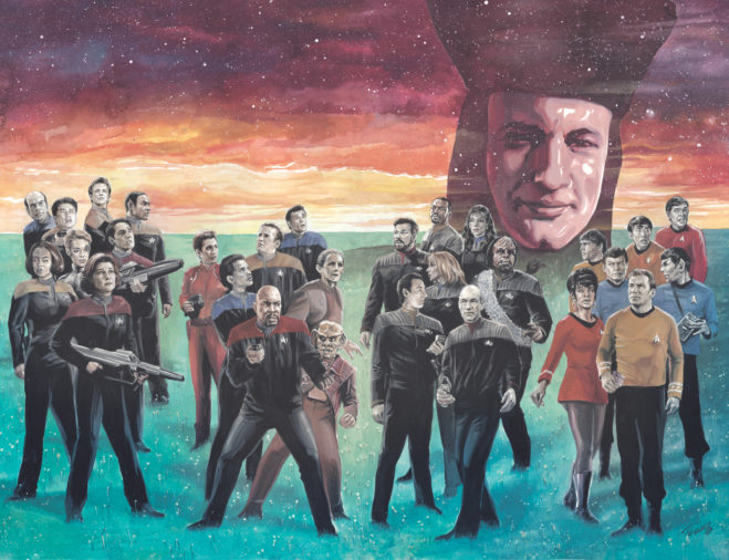 Illustration for Star Trek The Q Conflict, David Messina, IDW, 2019 - The casts of Star Trek TOS, Next Generation, Deep Space Nine, and Voyager are pictured standing on a grassy field looking up into space, where the face of Q looms menacingly